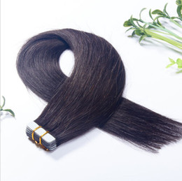 """Wholesale Wholesale Remy Packs - Wholesale tape in hair 16""""-26"""" #1b indian remy tape in human hair extensions 40pcs 100g pack DHL free shipping"""