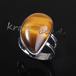Wholesale Drop Shape Ring - wholesale 10pcs Silver Plated beautiful Tiger's eye Beads Water Drop shape Adjustable Stone Finger Ring Jewelry