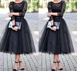 Wholesale Tea Length Tulle Skirt Dress - 2015 bridesmaid dresses 3 4 Long Sleeves Tulle Skirt Bridal Shower Tea Length cheap free shipping