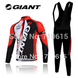 Wholesale Giant Long Sleeve Cycling Bib - Wholesale-Free shipping!NEW 2015 Giant red bicycle long sleeve jersey + bib pants cycling wear Ciclismo jersey cycling clothes