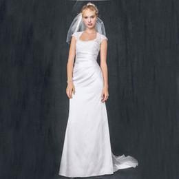 Wholesale Charmeuse Sheaths - Slim Charmeuse with Lace Keyhole Back 4XLT3342 Wedding Dresses Cap Sleeves Sheath Bridal Dress vestido de noiva curto renda