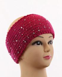 Wholesale Knit Headbands Rhinestones - New Fashion Crochet Knit Headband Ear Warmer Scattered Faceted Rhinestone Button