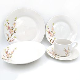 Wholesale Bone China Tableware - 20pcs Lot Bone China Plum Blossom Printed Ceramic Porcelain Tableware Dish Set Coffee Cup Set for Home, Office & Holiday Gift for Family