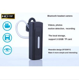 Wholesale Headset Camera Recorder - Spy bluetooth headset Camera 1280*720P Hidden earphone Camera Audio Video Recorder Mini Camcorder Motion Detection Support 2-32GB TF card