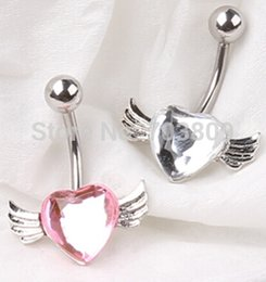 Wholesale Wings Belly Button Rings - factory wholesales 12pcs mix 2 color New Wing dangle body jewelry heart belly ring navel button bar earring for girls