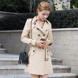 Wholesale Trenchcoat Dress - 2015 new spring autumn women coat medium-long trenchcoat sashes thin women casual dress coat for women slim trench free shipping