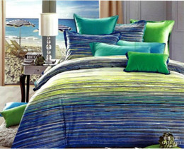 Wholesale Satin Egyptian Cotton Duvet Sets - Wholesale-Egyptian cotton green blue striped satin luxury bedding sets king queen size duvet cover bedspreads bed in a bag sheets linen