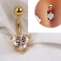Wholesale Dangle Navel Bars - 12pcs 18K Gold Heart Rhinestone Bow Dangle Navel Belly Bar Button Ring Body Piercing pierce