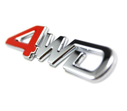 Wholesale 4wd Stickers - 2 kinds of 3D 4WD car stick emblem Metal or ABS Chrome car badge sticker emblem for SUV Tiguan RAV4 Duster Jeep Free Shipping