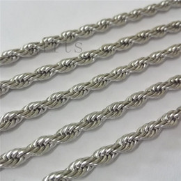 Wholesale Stainless 4mm Necklace - Wholesale 10pcs 4mm 22in Rope chain stainless steel Necklace It can be used with a wide variety of pendants, a classic design necklace