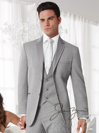 Wholesale mens silver suits - Wholesale-custom made suits free shipping Light Grey Groom Tuxedos Suits custom wedding groom wear dress vest mens suits wedding groom