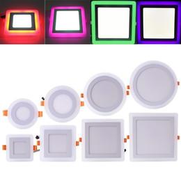 Plafon led redondo panel 6w online-Foco empotrable LED Cuadrado redondo 6W 9W 16W 24W 3 Modelo LED Lámpara de doble color Panel Luz de dos colores Luces empotradas en el techo Iluminación interior