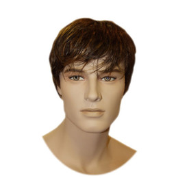 Cor perucas cabelo humano on-line-100% Remy Human Hair Mens Full Wig Short Men Wigs Brown Color RJ-361 2 #