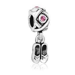 Wholesale Solid Silver Pandora - Enamel Shoes Pendant Cross Style 925 Sterling solid Silver European Screw Bead Charm Antique Fashion Jewelry Snake pandora Bracelet 1pcs up1