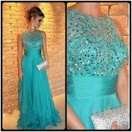 Wholesale Turquoise Silver Prom Dresses - 2015 Best Selling A Line Prom Dress Luxury Crystal Beading Chiffon Turquoise Evening Party Dress Sleeveless Floor Length Vestido De Festa