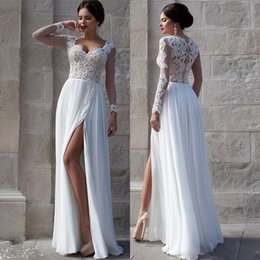 Wholesale Cowl Neck Prom Dress - Vestidos White Beach Wedding Dresses 2015 Lace Bridal Gowns Applique Sheer Illusion Long Sleeves Split Prom Gowns Soft Chiffon Wedding Gowns