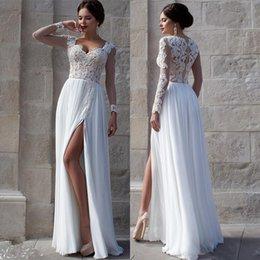 Wholesale Cowl Neck Prom Dress Chiffon - Vestidos White Beach Wedding Dresses 2015 Lace Bridal Gowns Applique Sheer Illusion Long Sleeves Split Prom Gowns Soft Chiffon Wedding Gowns