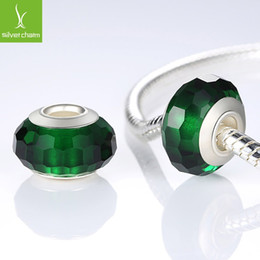 Wholesale Authentic Pandora Murano Glass Beads - 925 Sterling Silver Fascinating Green Murano Glass Beads Fit Pandora Bracelet Bangles Charms Original DIY Authentic Jewelry