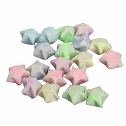 Wholesale Crafts Presents - Wholesale- 30pcs lot DIY Footprint Stars Folding Origami Lucky Wishes Luminous Ribbon Kit Paper Crafts Christmas Present Strips Gift