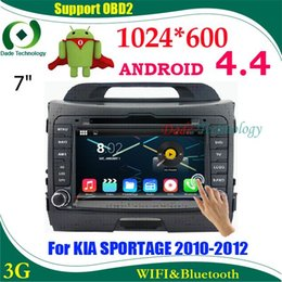 Wholesale Capacitive Android Double Din - 2 din car dvd gps Android 4.4 HD 1024*600 Capacitive screen car multimedia car audio for KIA SPORTAGE double din dvd android