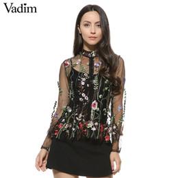 ccc49b4bf Atacado-Mulheres doce flor bordados de malha camisas sexy transparente  manga comprida blusa feminino stand gola marca tops blusas LT1558 cheap  wholesale ...