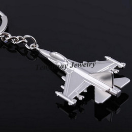 f16 Promo Codes - Metal F16 Fighter Plane model Keychain Zinc Alloy key chain Cool Battleplane Keyring For Military Fan 20pcs Casual Sporty keychain