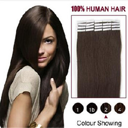 Wholesale Hand Tied Weft Hair Remy - Skin Weft PU Russian Remy Human Hair Extensions Black Brown Blond Hand Tied Maded Weave Straight Weft Tape Hair