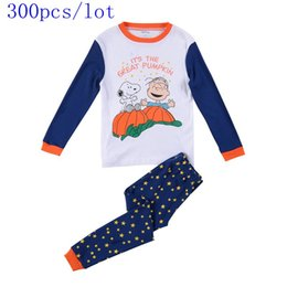 Wholesale Snoopy Suit - Wholesale Baby boys cotton long sleeve Cartoon Snoopy pajamas outfits t-shirt + stars pant sleep wear suits winter 300pcs lot