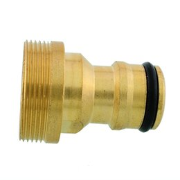 """Wholesale Tap Adaptors - New Useful 3 4"""" Solid Brass Threaded Water Pipe Connector Tube Tap Snap Adaptor Fitting Garden Outdoor"""