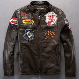 Wholesale Flight Jacket Xxl - AVIREX AERONAUTICS man's leather jacket The badges motorcycle clothing calfskin leather the flight suit punk style slim fashion jacket