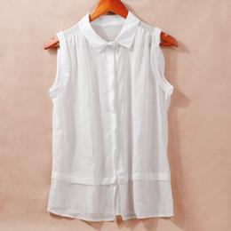 Wholesale Order Chiffon Blouse - Fashion Women Sheer Chiffon Blouse Turn-down Collar Button Sleeveless Top blusas camisa feminina cheap clothes china order<$18no track