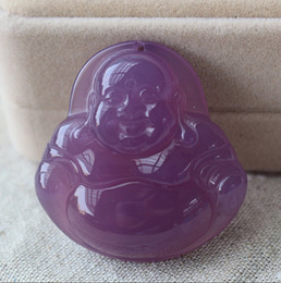 Wholesale Hand Carved Buddhas - Free shipping - Natural AAA purple jade charm pendant good luck hand-carved Laughing Buddha pendant beads necklace