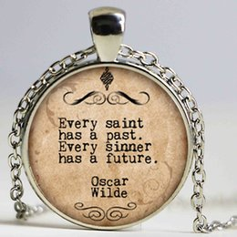 Wholesale Loving Saying - lot witty poet necklace, Every Saint Has a Past Every sinner has a future print Photo glass saying necklace