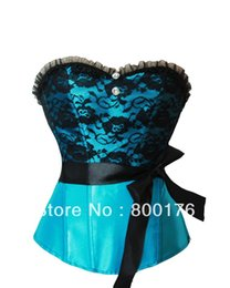 Wholesale Light Blue Thong - Wholesale-Free shipping Sexy Burlesques Corset Basques Boned Top With Ribbon And Thong Lingerie 3609