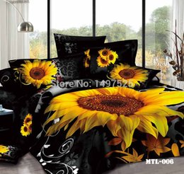 Wholesale Sunflower Sheets King - Wholesale-Sunflower Blooming Printing 3D Bedding Sets Full Queen King Size 4Pcs of Duvet Cover Bed Sheet Pillowcase Free Shipping,,