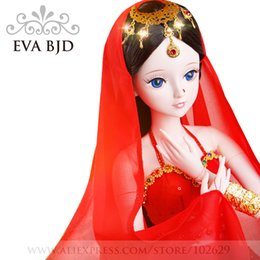 Wholesale Beauty Clothing - EVA BJD 1 3 India Girl Doll 60cm 19 jointed dolls Indian Dancer Beauty Toy ( Free Eyes Hair Makeup Clothes Shoes )DA001-54