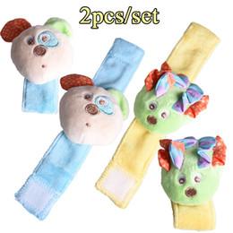 Wholesale Baby Hedgehogs - Wholesale- 2Pcs Mouse Hedgehog Plush Wrist Strap Rattles Baby Toys Animal Rattles Soft Wrist Band Educational Handbells Developmental Toys