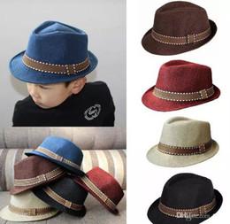 Wholesale Jazz Ball Hat - 2016 New Fashion Kids Boys Girls Unisex Fedora Hats Cap for Children Contrast Trim Cool Jazz Chapeu Feminino Trilby Sombreros 5colors
