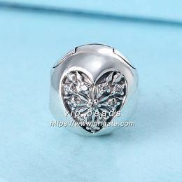 Wholesale Glass Cube Clips - 2017 Winter New S925 Sterling Silver Winter Heart CZ Clip Fashion Jewelry Charm Beads Fit Pandora Bracelets Pendants