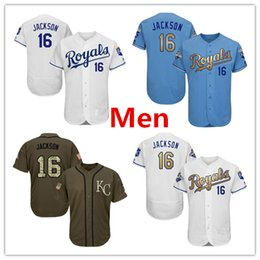 Wholesale red lights flash - Mens Royals 16 Bo Jackson Baseball Jersey Light Blue Royal White Grey Gray Green Salute Players Weekend All Star Team Logo Memorial Day