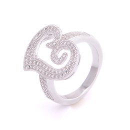 Wholesale Silver Ring Hearts - Wholesale-Sterling Silver 925 Heart Rings Brand Women Jewelry Wedding Party Stone Ring Mrs Silver Fine Jewelry