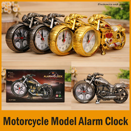 Wholesale Circular Homes - (2 Colors) Relogio De Mesa Home Decoration Quartz Alarm Clock Super Cool Motorcycle Model Creative Retro Gift Decor Kids Children Gift