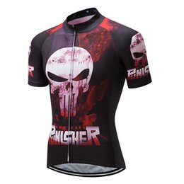 Wholesale Red Hot Skull - Crossrider hot Punisher Skull cycling jersey Mtb Bicycle Clothing funny Bike Wear Clothes Short Maillot Roupa Ropa De Ciclismo Hombre Verano