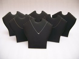 Wholesale Necklace Props - Wholesale 10PCS Jewelry Display Props Portable Necklace Stand Holder Black Leatherette for Multi Items Pendant Easel Shelf Rack