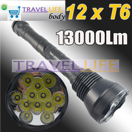 Wholesale Super Bright 12x Cree - Promotion! 13000 Lumen Super Bright 12x CREE XML T6 LED Flashlight Torch, 5 Mode For Outdoor Sports, Free Shipping