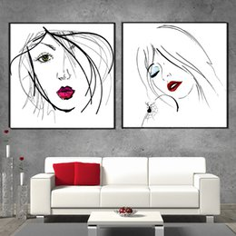 Wholesale Modern Abstract Painting Black Red - Abstract Simple Portraiture Black-White-Red Art Painting on CANVAS modern printed wall art for living room bedroom