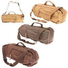 Wholesale Vintage Hiking Backpacks - Ship from USA! backpack canvas Men's Vintage Canvas Leather Hiking Travel Cylinder Messenger Tote School Bag outdoor backpack