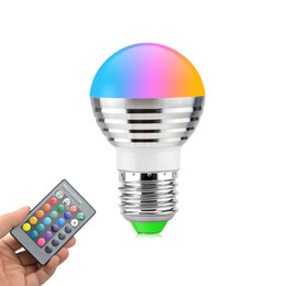 Wholesale Rgbw Led Bulb - 5W RGB led bulbs light E27 E26 E14 led lights RGBW (rgb+white) led lamp ac 110-240v + 24keys ir remote control