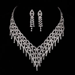 Wholesale Wholesale Evening Dress China - Sparkly Crystals Bridal Accessories Wedding Bridal Prom Evening Lady Girl Dresses Rhinestone Jewelry Earring Necklace Set High Quality