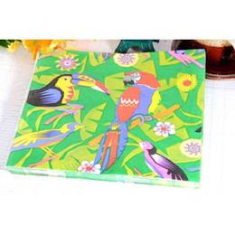Wholesale Serviette Wedding - Color Parrot Decorative Paper Napkin Wedding Party Disposable Placemats Kerchief Art Tissue Serviettes for Sale SD907
